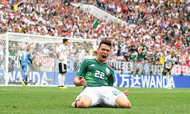 Hirving Lozano of Mexico celebrates scoring the winner against Germany in their opening Group F game.