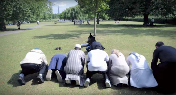 The terror suspect, third from right, appeared in a documentary about Islamic extremism last year