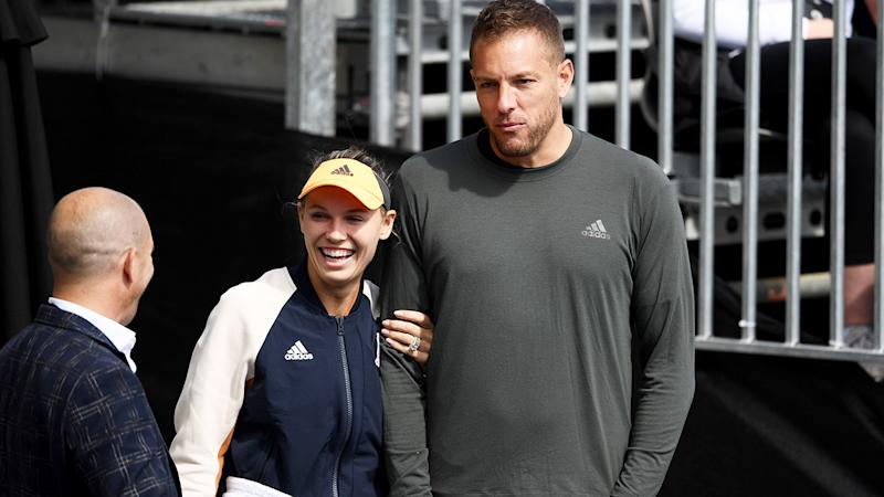 Caroline Wozniacki and David Lee, pictured here at the 2020 ASB Classic in New Zealand.
