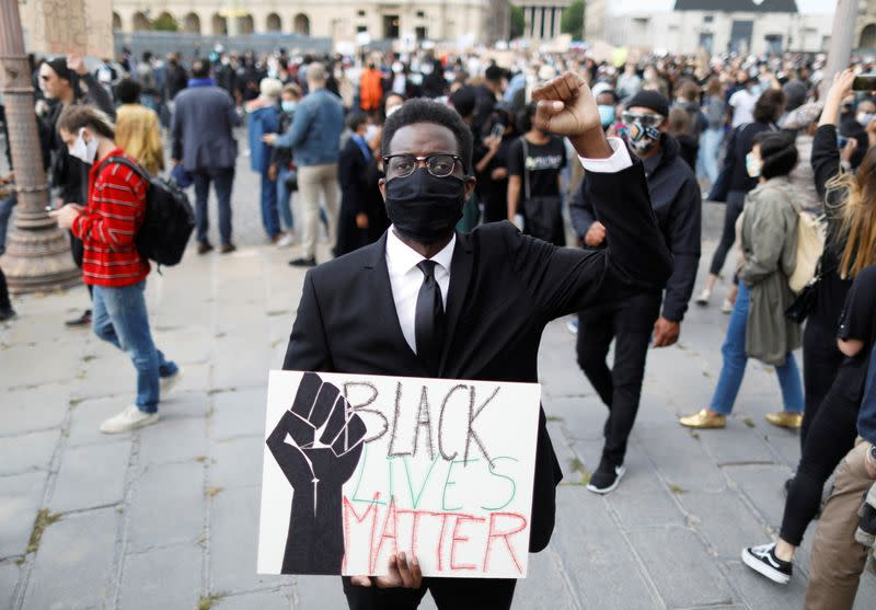 Protest against police violence and racial inequality in the aftermath of the death in police custody of George Floyd, in Paris