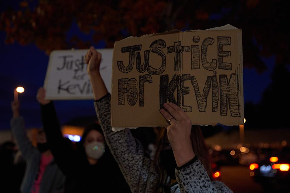 Protesters march for Kevin Peterson, Jr., Friday in Vancouver, Washington. Peterson was fatally shot by police on Thursday.