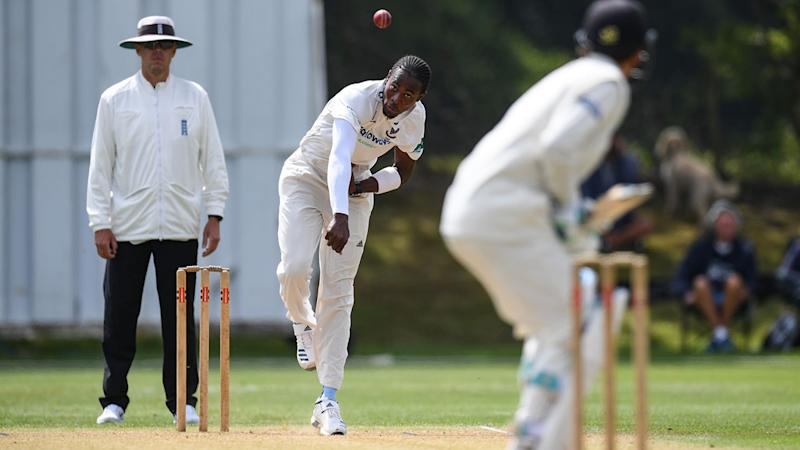 Jofra Archer in action during the second XI match. (Photo by Mike Hewitt/Getty Images)