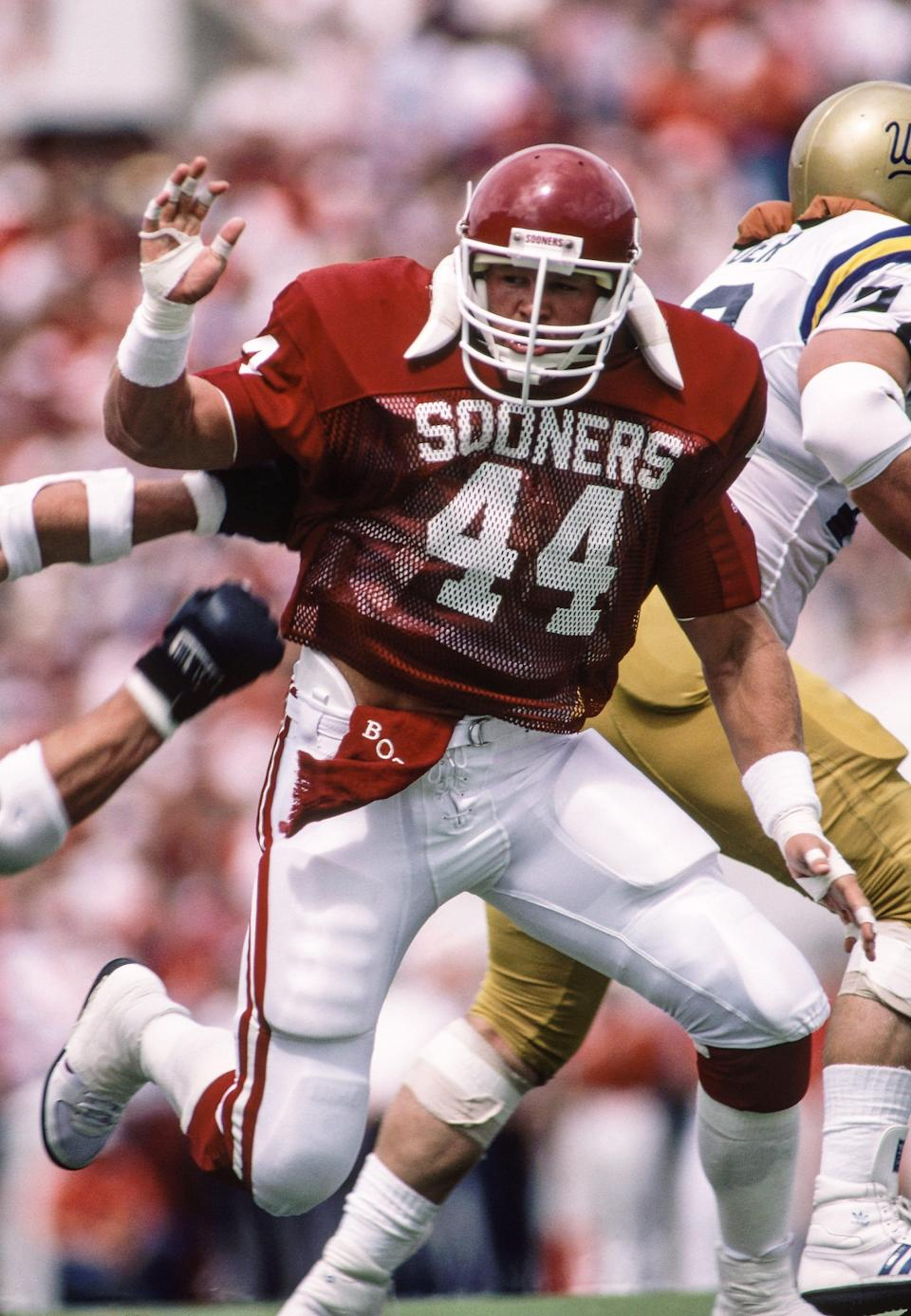 Brian Bosworth, who left Oklahoma in 1987, signed the largest rookie contract in NFL history at the time, with the Seattle Seahawks. He also inked commercial, book, clothing and shoe deals worth more than $1.1 million, according to contemporary reports.