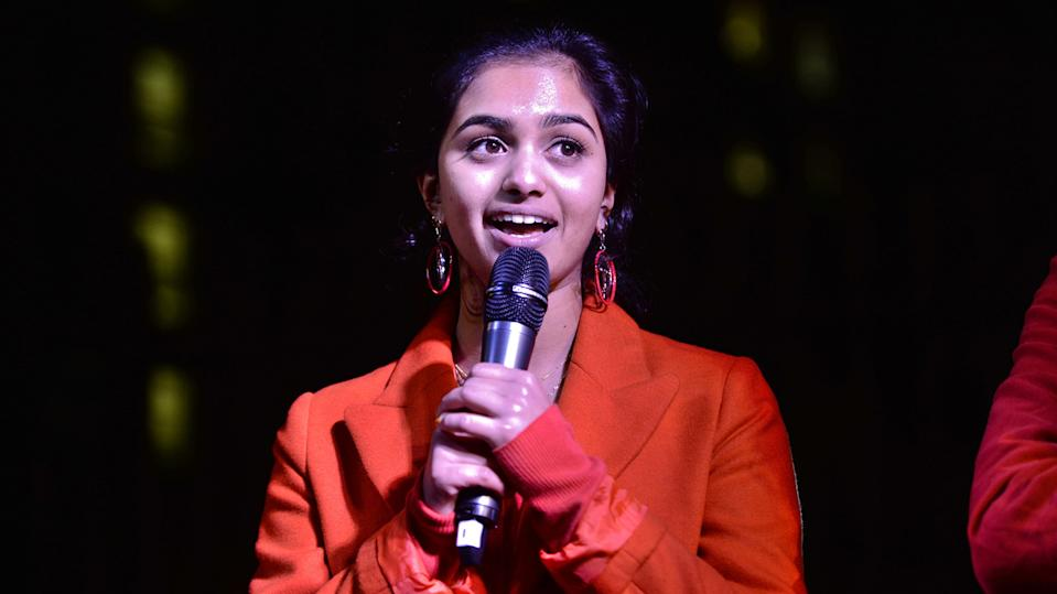 Amika George, 18, the founder of campaign group Free Periods, speaks during a Period poverty protest opposite Downing Street in Whitehall, led by Free Periods, a group which is asking for free sanitary products for all girls on free school meals.