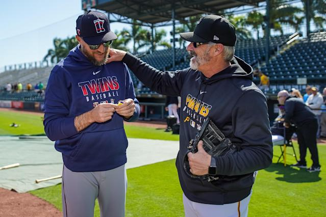 New Pirates manager Derek Shelton (right) was set to begin his first season at the helm before the coronavirus pandemic delayed Major League Baseball's season. (Photo by Brace Hemmelgarn/Minnesota Twins/Getty Images)