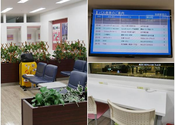 (Left) The ladies' corner is at the back. (Upper right) There's a bus schedule display on the wall facing the chairs. (Lower right) Power outlets are available for use as well!