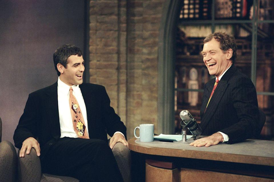 <p>Clooney on <em>The Late Show with David Letterman</em> on November 23, 1995.</p>