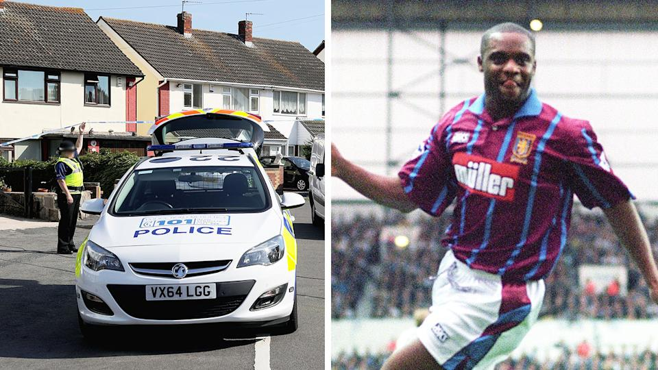 Dalian Atkinson (pictured right) celebrating a goal for Aston Villa and (pictured left) the scene where he died in 2016 after an altercation with police.