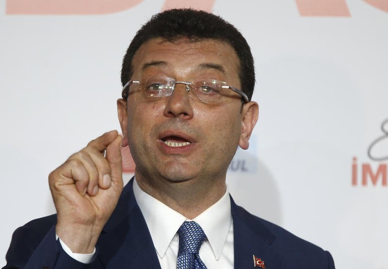 Ekrem Imamoglu, mayoral candidate for Istanbul of Republican People's Party (CHP) gives a statement during a press conference after the local elections, in Istanbul, Sunday, March 31, 2019. President Recep Tayyip Erdogan's ruling party has declared victory in the race for mayor of Istanbul, even though the result in Turkey's most populous city and commercial hub is too close to call. State broadcaster TRT says former Prime Minister Binali Yildirim received 48.71 percent of the votes in Sunday's municipal elections while the opposition's candidate, Ekrem Imamoglu, got 48.65 percent. (AP Photo/Lefteris Pitarakis)