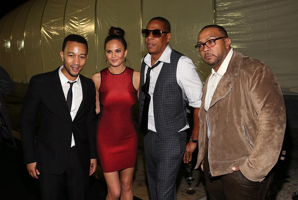 (L-R) John Legend, Christy Teigen, Jay-Z, and Timbaland attend DIRECTV Super Saturday Night Featuring Special Guest Justin Timberlake & Co-Hosted By Mark Cuban's AXS TV on February 2, 2013 in New Orleans, Louisiana.  (Photo by Christopher Polk/Getty Images for DirecTV)