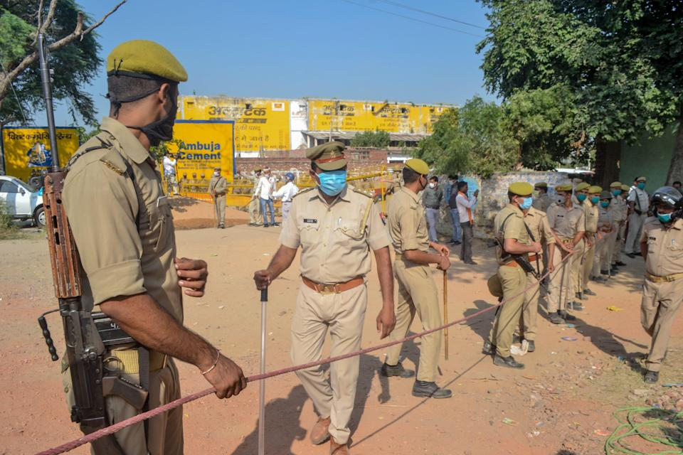 Police in Uttar Pradesh have been criticised for their handling of the Hathras rape case and subsequent political unrest (AFP via Getty Images)