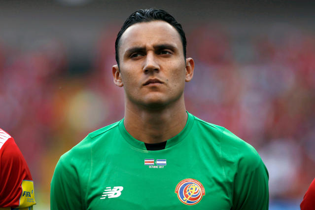 In this photo taken on Saturday, Oct 7, 2017, Costa Rica goalkeeper Keylor Navas listens to the anthems before a World Cup qualifying soccer game against Honduras at the National Stadium in San Jose, Costa Rica. (AP Photo/Moises Castillo)