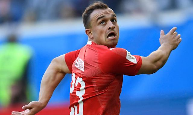 Xherdan Shaqiri in action for Switzerland during the World Cup. He is close to joining Liverpool from Stoke City.