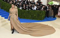 <p>Priyanka Chopra rocked one of the longest trains to have ever graced the Met Gala carpet on May 1st 2017.<br>In keeping with the 'Rei Kawakubo/Comme des Garcons: Art Of The In-Between' theme, the actress chose a trench-inspired dress by Ralph Lauren which boasted a rather impressive 20ft train. <em>[Photo: Getty]</em> </p>