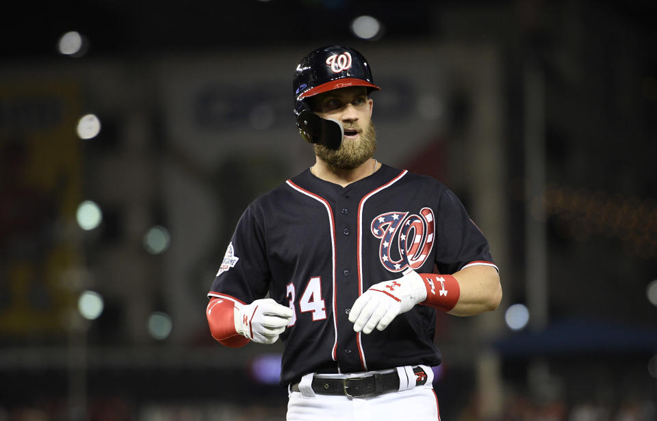 Bryce Harper has a claim as the best player on the upcoming free-agent market. (AP)
