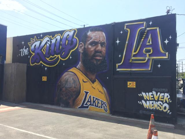 The mural in-between the two instances of vandalism. (Yahoo Sports)