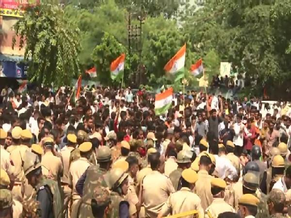 visual from the student protest in Jaipur (Photo/ANI)