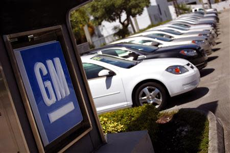 Chevrolet cars are seen at a GM dealership in Miami in this file photo