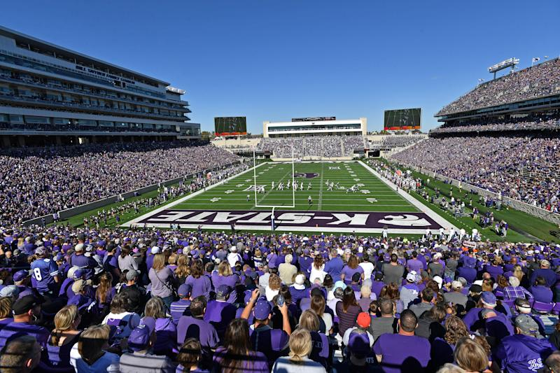 MANHATTAN, KS - OCTOBER 19: A general view of Bill Snyder Family Football Stadium during a game between the Kansas State Wildcats and TCU Horned Frogs on October 19, 2019 in Manhattan, Kansas. (Photo by Peter G. Aiken/Getty Images)