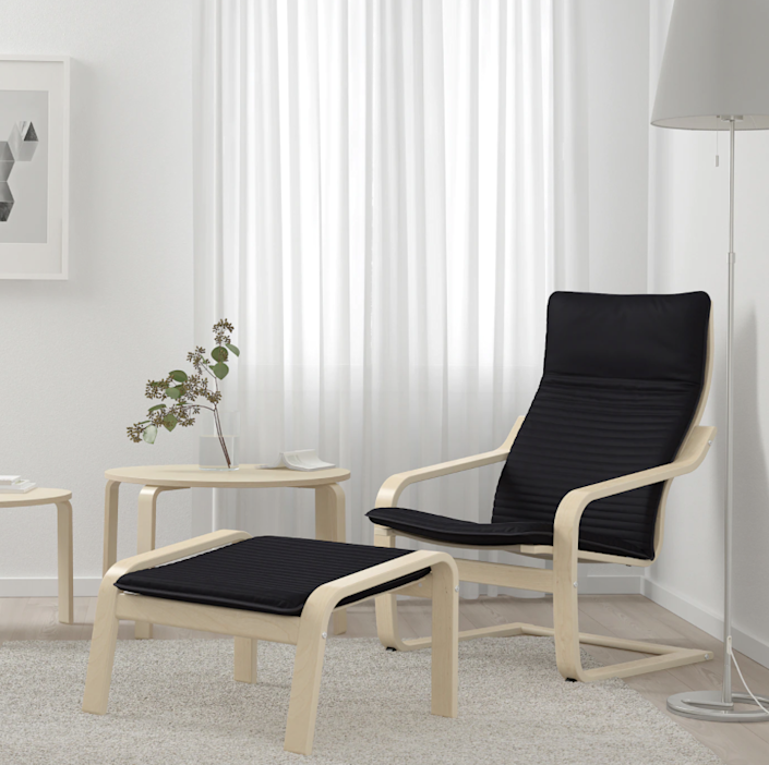 """The Poäng chair is one of those tried and true pieces of IKEA furniture. There are <a href=""""https://www.architecturaldigest.com/story/no-shame-in-the-poang-chair?mbid=synd_yahoo_rss"""" rel=""""nofollow noopener"""" target=""""_blank"""" data-ylk=""""slk:many reasons"""" class=""""link rapid-noclick-resp"""">many reasons</a> it is a best seller. $79, IKEA. <a href=""""https://www.ikea.com/us/en/p/poaeng-armchair-birch-veneer-knisa-black-s79305927/"""" rel=""""nofollow noopener"""" target=""""_blank"""" data-ylk=""""slk:Get it now!"""" class=""""link rapid-noclick-resp"""">Get it now!</a>"""