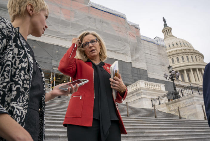 FILE - In this Jan. 10, 2020, file photo, Rep. Liz Cheney, R-Wyo., speaks with reporters as lawmakers leave the Capitol in Washington. The Wyoming Republican Party voted overwhelmingly Saturday, Feb. 6, 2021 to censure U.S. Rep. Liz Cheney for voting to impeach President Donald Trump for his role in the Jan. 6 riot at the U.S. Capitol. (AP Photo/J. Scott Applewhite, File)