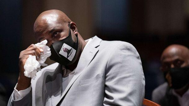 PHOTO: Philonise Floyd, brother of George Floyd, tears up while testifying during a House Judiciary Committee at a hearing on police accountability on Capitol Hill, June 10, 2020, in Washington, D.C. (Erin Schaff/Pool/Getty Images)