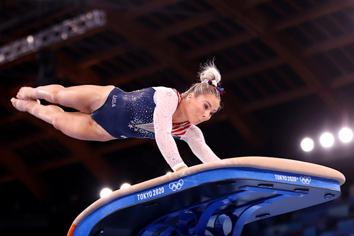 MyKayla Skinner got a second shot at Olympic glory thanks in part to Simone Biles, and she earned silver on the vault with it. (Photo by Laurence Griffiths/Getty Images)