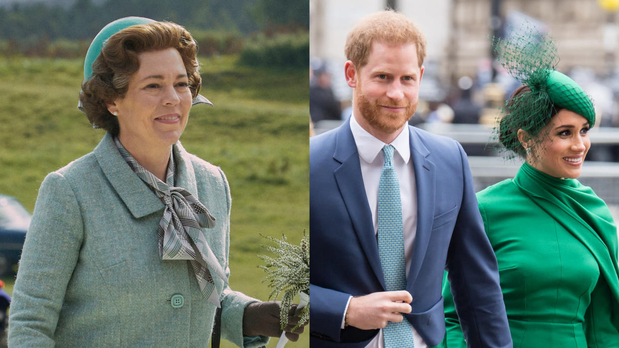 'The Crown' will not deal with recent events such as Prince Harry and Meghan Markle stepping away from royal life. (Mark Mainz/Des Willie/Netflix/Samir Hussein/WireImage)