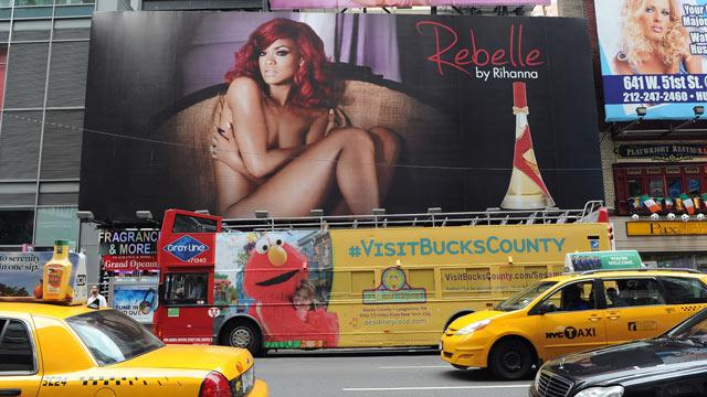 Rihanna Poses Nude in Times Square