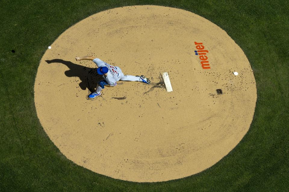 Chicago Cubs starter Keegan Thompson throws during the first inning of a baseball game against the Milwaukee Brewers Sunday, Sept. 19, 2021, in Milwaukee. (AP Photo/Morry Gash)