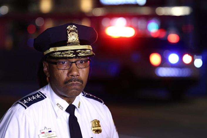 Police Chief Robert Contee speaks to reporters, with Mayor Muriel Bowser, after a shooting on July 22, 2021 in Washington, DC. Gunfire erupted on a busy street, injuring two and sending others fleeing for safety. A dark sedan was being sought in connection with the shooting and the two injured were expected to survive, according to published reports. (Photo by Anna Moneymaker/Getty Images)