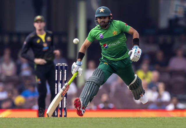 Mohammad Rizwan of Pakistan rushes to make his ground while batting against Australia during their T20 cricket match in Sydney, Sunday, Nov. 3, 2019. (Craig Golding/AAP Image via AP)