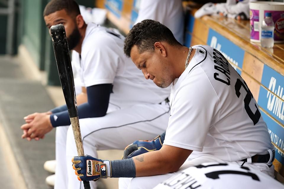 Tigers designated hitter Miguel Cabrera waits to bat in the first inning against the Mariners on Wednesday, June 9, 2021, at Comerica Park.