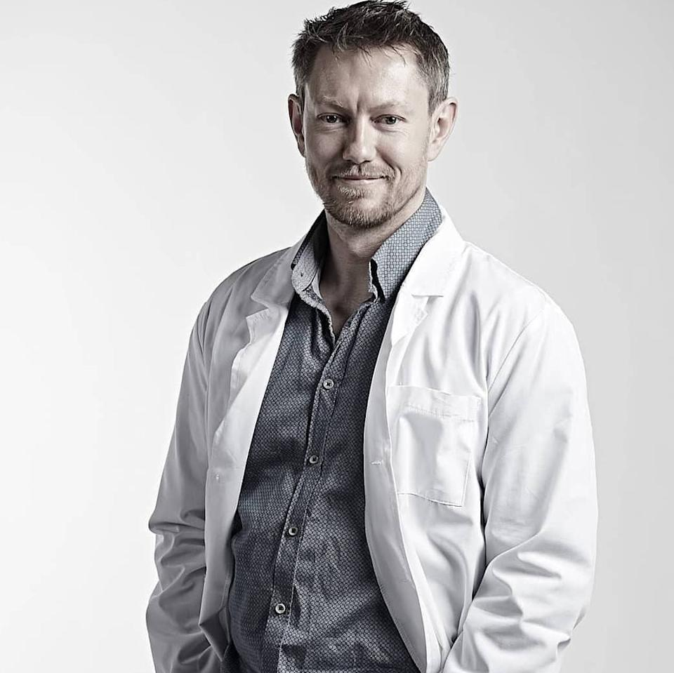 Marty Paine in a lab coat.