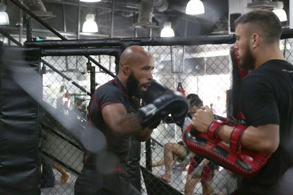 Mixed martial arts star Demetrious Johnson in training at Evolve MMA in preparation for his ONE Championship: Dawn of Heroes fight in Manila on 2 August. (PHOTO: Dhany Osman/Yahoo News Singapore)