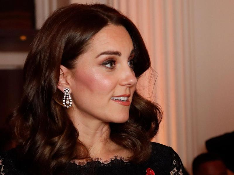 Kate was wearing a pair of earrings from the Queen as well. Photo: Getty