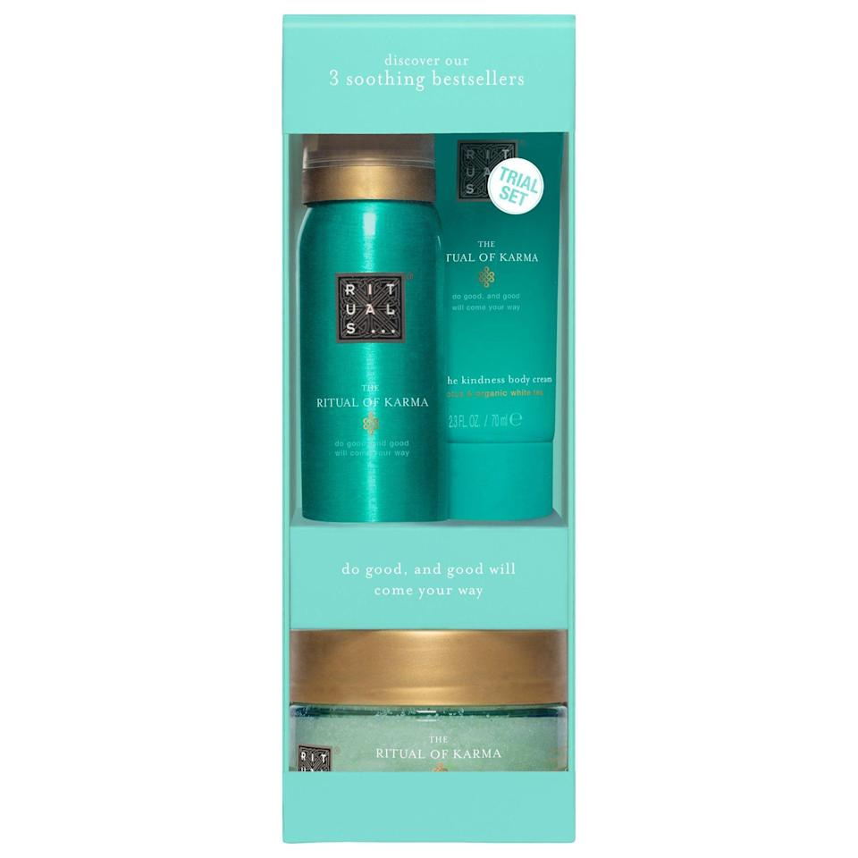"""<p><strong>Rituals</strong></p><p>sephora.com</p><p><strong>$20.00</strong></p><p><a href=""""https://go.redirectingat.com?id=74968X1596630&url=https%3A%2F%2Fwww.sephora.com%2Fproduct%2Frituals-the-ritual-karma-try-me-set-P463650&sref=https%3A%2F%2Fwww.seventeen.com%2Flife%2Fg23515577%2Fcool-gifts-for-teen-boys%2F"""" rel=""""nofollow noopener"""" target=""""_blank"""" data-ylk=""""slk:Shop Now"""" class=""""link rapid-noclick-resp"""">Shop Now</a></p>"""