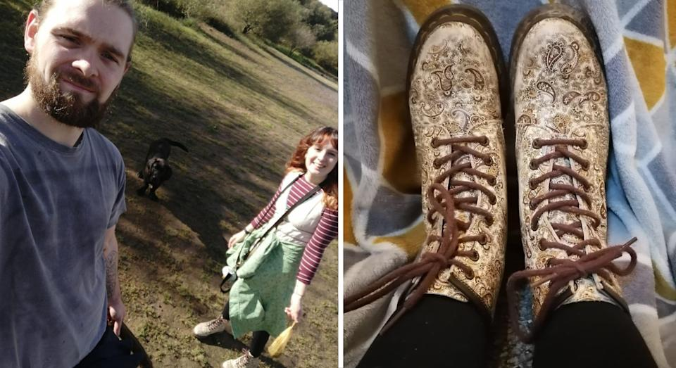 Bray with her boyfriend Dan Durrance, who thrifted her a pair of Dr. Martens (PA)