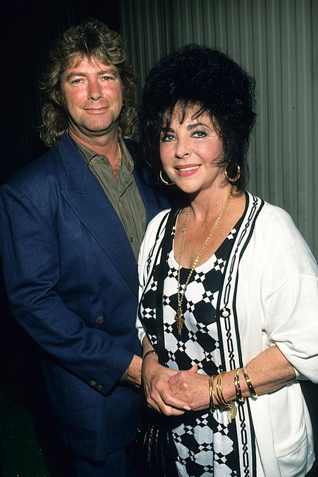 Elizabeth Taylor met her eighth (and final) husband, construction worker Larry Fortensky, in 1988 when the two were both in treatment at the Betty Ford Clinic, battling their drug and alcohol addictions when she was 56 and he was 36. The couple wed in 1991 at Taylor's pal Michael Jackson's Neverland Ranch, where Jackson himself gave away the bride in front of 150 guests. The couple split five years later and Taylor left Fortensky $1 million in her will when she died last year.