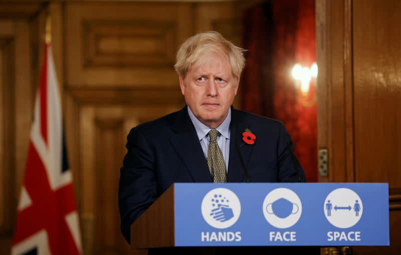 Britain's PM Johnson holds news conference on COVID-19