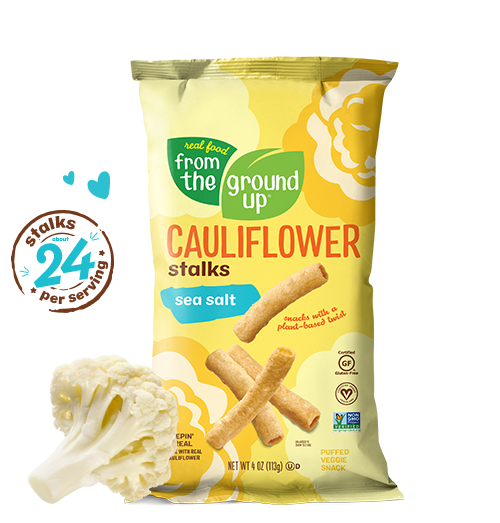 """<p><strong>Real Food From The Ground Up </strong></p><p>fromthegroundupsnacks.com</p><p><a href=""""https://fromthegroundupsnacks.com/products/stalks-cauliflower-sea-salt"""" rel=""""nofollow noopener"""" target=""""_blank"""" data-ylk=""""slk:Shop Now"""" class=""""link rapid-noclick-resp"""">Shop Now</a></p><p>Great-tasting and good-for-you—what more can you ask of a snack? Real Food From The Ground Up offers snacks with a plant-based twist. Made with real cauliflower, these tasty stalks (puffed snack) are vegan, gluten-free, GMO-free and delicious. Satisfy your crunch craving with classic sea salt and cheddar-flavored versions. </p>"""