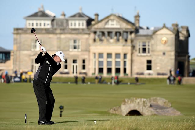 "<div class=""caption""> Lawrie hits his tee shot on the 18th hole during the second round of the 2015 Open Championship at The Old Course. </div> <cite class=""credit"">Warren Little/R&A</cite>"