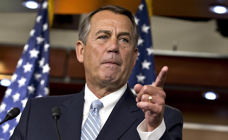 House Speaker John Boehner, R-Ohio, repeats his call for President Obama to submit a budget proposal to Congress, during a news conference at the Capitol in Washington, Wednesday, Feb. 6, 2013. Eager to buy time and avoid economic pain, President Barack Obama urged Congress on Tuesday to pass targeted short-term spending cuts and higher taxes as a way to put off sweeping, automatic cuts that would slice deeply into military and domestic programs starting March 1. (AP Photo/J. Scott Applewhite)
