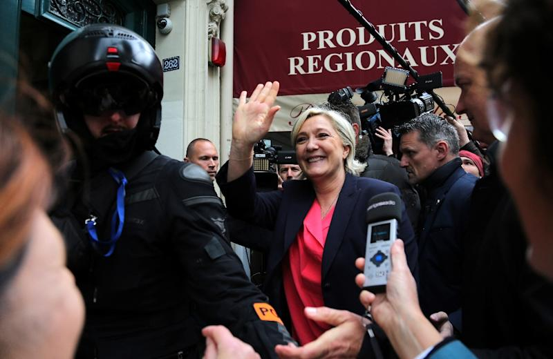 Buzzfeed and Mediapart were among the online news sites that have said they were refused accreditation for the election night event for far-right presidential candiadate Marine Le Pen, pictured on May 7, 2017