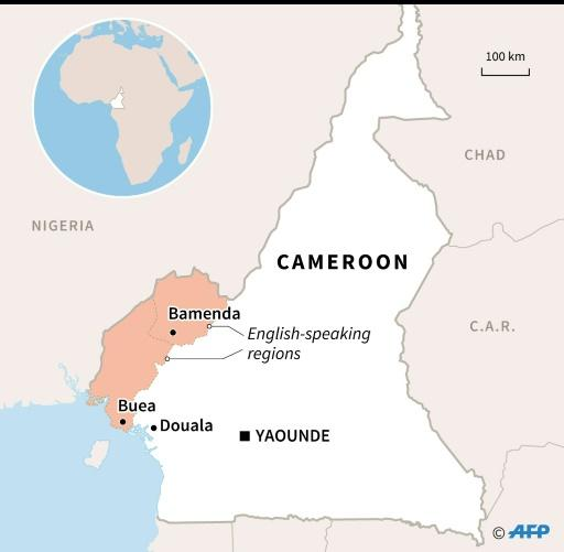 Map of Cameroon locating English-speaking regions and their capitals, Bamenda and Buea
