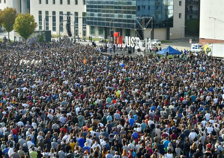 Thousands demonstrated in front of the local courthouse in Pamplona, where the original trial took place