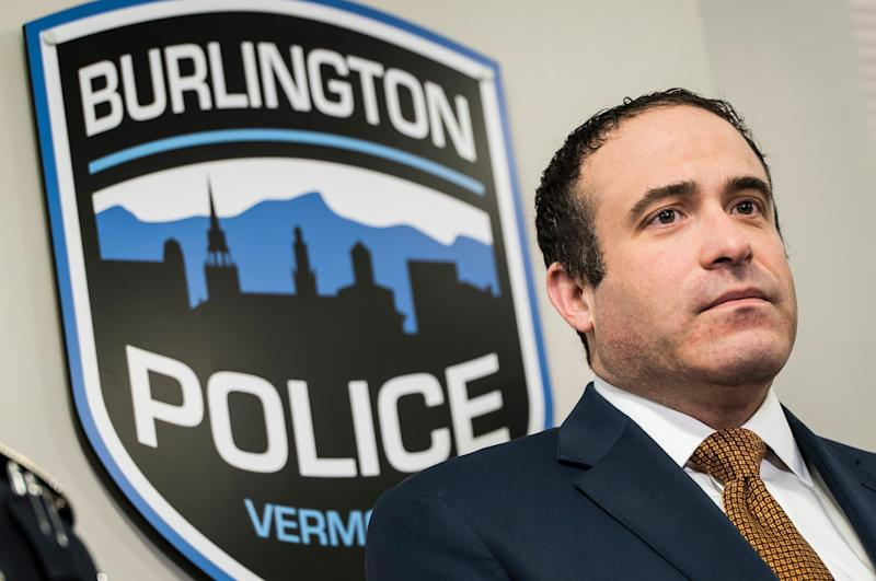 Burlington Police Chief Brandon del Pozo answers questions during a news conference on Wednesday, April 11, 2019, about a fight between Douglas Kilburn and Officer Cory Campbell on March 11. Kilburn was found dead days later.