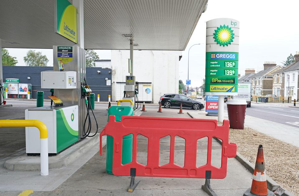 Closed pumps at a BP garage in south London on Sunday (PA)