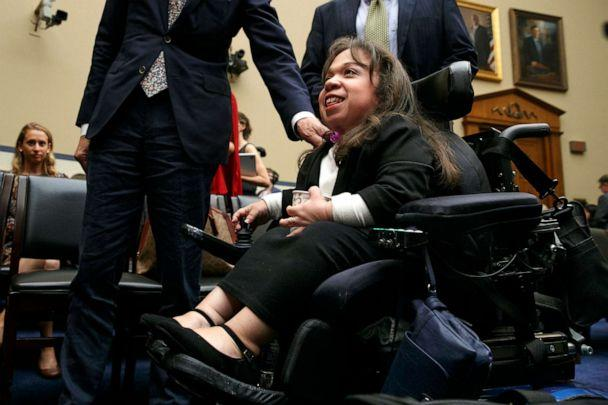 PHOTO: Maria Isabel Bueso, 24, of Concord, Calif., left, leaves a House Oversight subcommittee hearing, Sept. 11, 2019, in Washington. (Jacquelyn Martin/AP)
