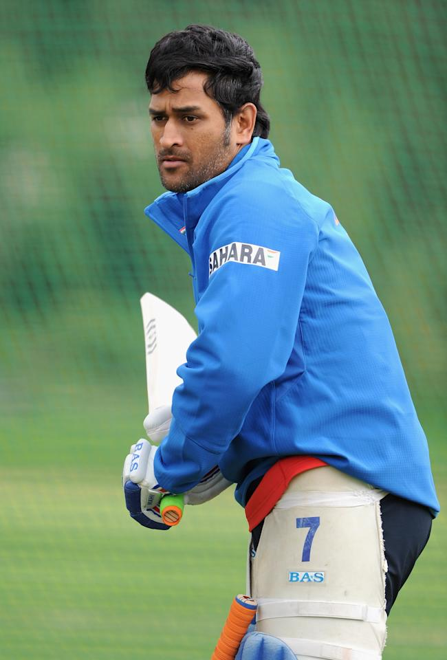 CHESTER-LE-STREET, ENGLAND - SEPTEMBER 02: Indian captain MS Dhoni bats during a nets session at The Riverside on September 2, 2011 in Chester-le-Street, England.  (Photo by Gareth Copley/Getty Images)